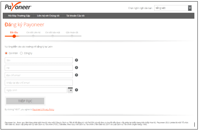 hướng dẫn tạo tài khoản Payoneer