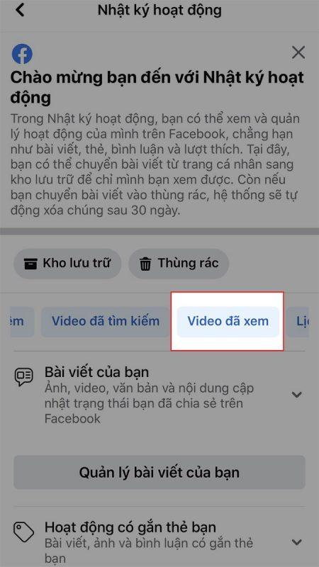 cách xóa video đã xem trên watch facebook