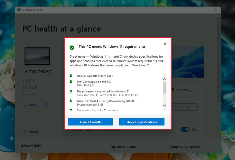 windows pc health check